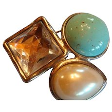 Large Geometric Ben-Amun Brooch Faux Turquoise, Pearl and Rock Crystal