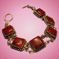 Sterling Silver and Red Jasper or Coral Bracelet