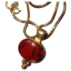 Mexico Sterling and Bezel Set Red Jasper Pendant