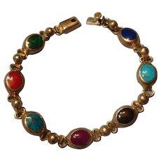 Sterling Mexico 7 Gemstones Inlay Silver Bracelet