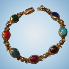 Sterling Mexico 7 Gemstones Inlay Silver Bracelet