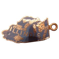 Illinois Sterling Enameled Silver State Charm
