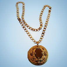 Antique Victorian Double Sided Etched Locket and Book Chain