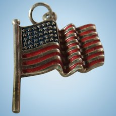 Waving American Flag Sterling Silver and Enameled, Patriotic Charm