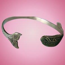 Mag Sterling Silver Bill Wilson Tlingit Orca, Killer Whale Bracelet