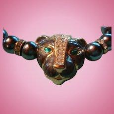 KJL Kenneth J. Lane Panther Enameled, Rhinestones, Faux Tahitian Pearls Necklace