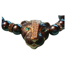KJL Kenneth J. Lane Panther Enameled, Rhinestones, Faux Tahitian Pearls Necklace