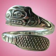 Mag Sterling Silver Bill Wilson Tlingit Beaver Ring
