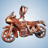 AJM 10K  Gold Mechanical Motorcycle Charm Pendant Wheels Move