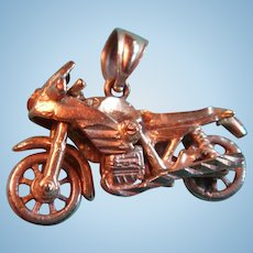 AJM 10K  Gold Articulated Motorcycle Charm Pendant Wheels Move