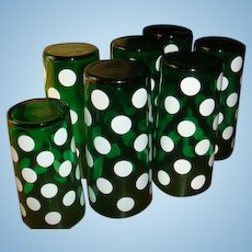 7 Anchor Hocking Forest Green and White Dot Fiesta Glasses Hard to Find