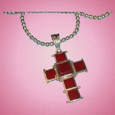 Sterling Silver Framed Carnelian Cross Pendant