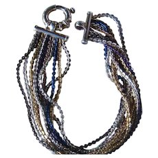 Milor Sterling Silver Vermeil 10 Strand Torsade Style Italy Bracelet