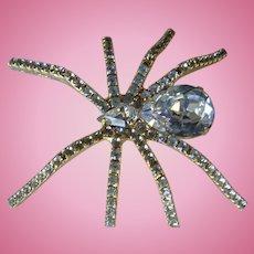 Huge Crystal Rhinestone Covered Spider Brooch