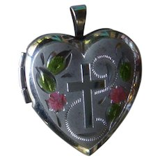 Sterling Silver and Enameled Heart Locket Charm, Pendant,  Cross, Forget me Not