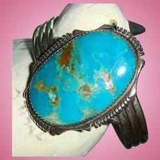 Amazing Navajo Sterling Rich Blue Large Turquoise Matrix Bracelet Marked J