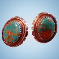 Navajo B. Piaso Sterling Silver Turquoise Matrix Post Earrings