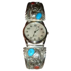 Native American Navajo Sterling JCY Turquoise Coral Quartz Watch Runs Perfectly
