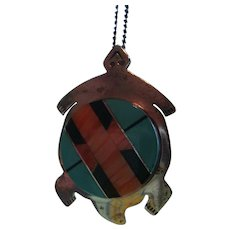 Navajo Marilyn Yazzie Sterling Turquoise, Onyx, Spiny Oyster Turtle Pin / Pendant /Necklace