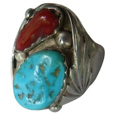 Size 12.5 Turquoise Coral Native American Sterling Silver Ring Navajo NIETO