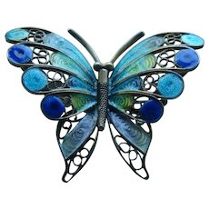 800 Silver Enamel Filigree Blues Butterfly Pin