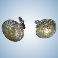 Hecho en Mexico Sterling Silver Aztec Sterling Silver Cufflinks