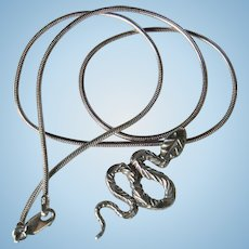 Sterling Silver Snake on the Move Pendant on Snake Chain 925 Italy Necklace