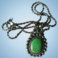 Sterling Silver Turquoise Green Beaded Pendant  Necklace Marked GLO Italy