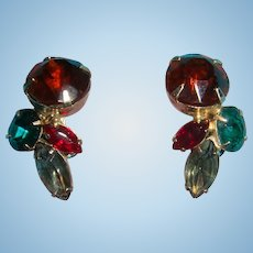 4 Colors Shapes Prong Set Rhinestone Earrings