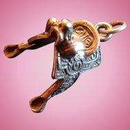 Sterling Silver Detailed Design Horse Saddle Charm