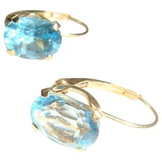 14K Gold Lever Back Topaz Blue Earrings