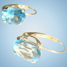 14K Gold Lever Back Topaz Blue Earrings