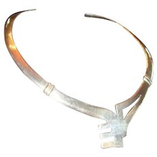 Modernist Taxco Mexico Sterling Silver Collar Necklace