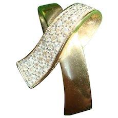 14K Yellow Gold and Diamonds Ribbon Slide Pendant