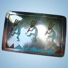 Native American  Kokopelli Belt Buckle Sterling, Turquoise, Coral RB