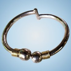 Taxco Mexico Sterling Silver and Gold Vermeil Bypass Ball Hinged  Bracelet