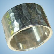 Classic Hammered Sterling Silver Ring Wide Band Size 6