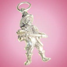 Sterling Silver Fireman Charm, Mustache, Shovel