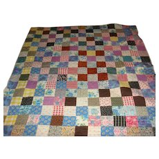 Great Old Colorful Hand Stitched Quilt From Grandma's Day Dresses 76 x 71
