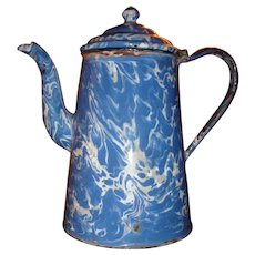 Blue, Brown, Gray and White Swirl End of Day Gooseneck Coffee Pot
