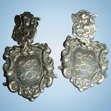 T. Foree Victorian Styled Luggage Tag Post Earrings Sterling