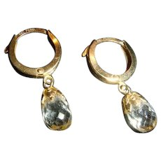 Patent Pending 14K Gold Faceted Crystal Lever Back Dangle Earrings KY Estate