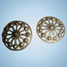 Pair of Victorian or Civil War Era Steel Cut One Inch Buttons