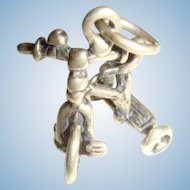 Sterling Silver Tricycle Charm, Handlebars, Wheels Kick Stand
