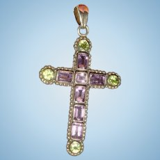 Nicky Butler Sterling Silver Amethyst and Peridot Gemstones Cross Pendant
