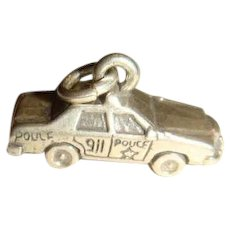 Sterling Silver 911 Police Car Charm