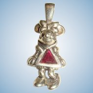 Sterling Silver and Ruby Red Stone Minnie Mouse Disney Charm Pendant