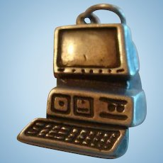 Vintage Sterling Silver PC Computer Keyboard and Monitor Charm