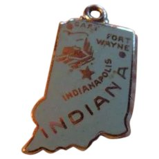Sterling Silver Enamel State Souvenir Charm Indiana Hoosier State