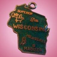 Sterling Silver Enamel Wisconsin State Souvenir Charm